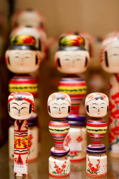 Kokeshi dolls on sale  at Shimanuki