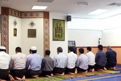 Friday prayers at a neighbouring mosque