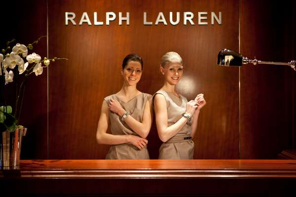 Models showing off watches at the Ralph Lauren stand