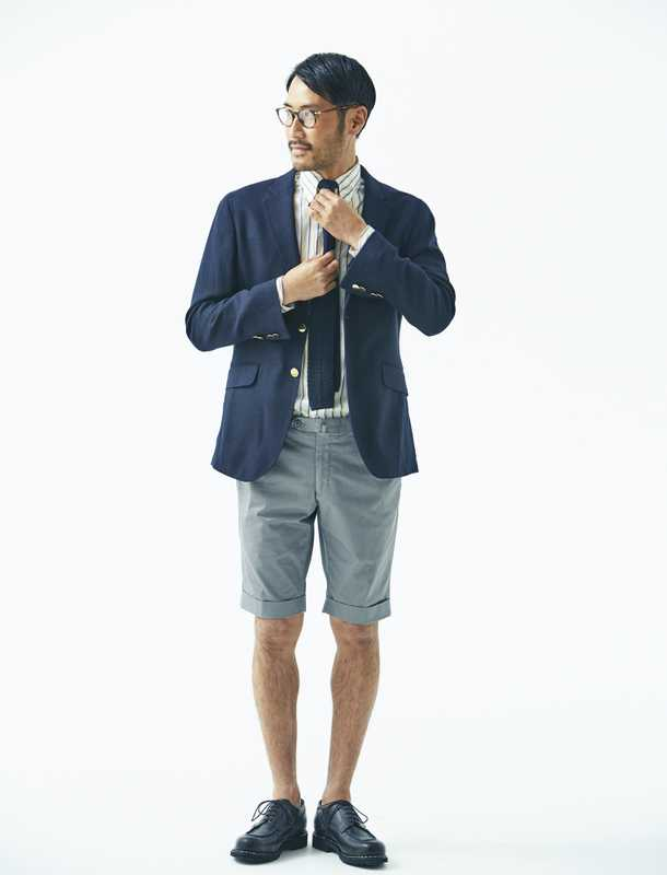 Jacket by Hackett London, shirt and tie by Drake's, shorts by Tomorrowland, shoes by Paraboot, glasses by Eyevan 7285