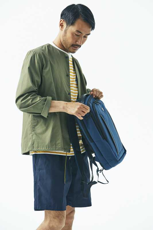 Jacket by Manual Alphabet, t-shirt by Goldwin, shorts by A Kind Of Guise, backpack by Victorinox