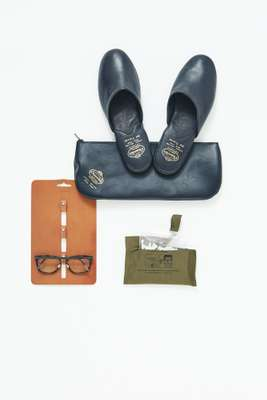 Slippers by Church's, glasses by Lindberg, glasses holder by Hender Scheme, cotton buds by Puebco