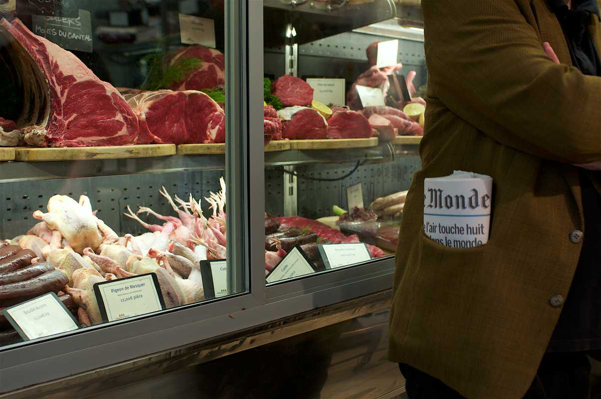 Meat fridge at Terroirs d'Avenir butcher's
