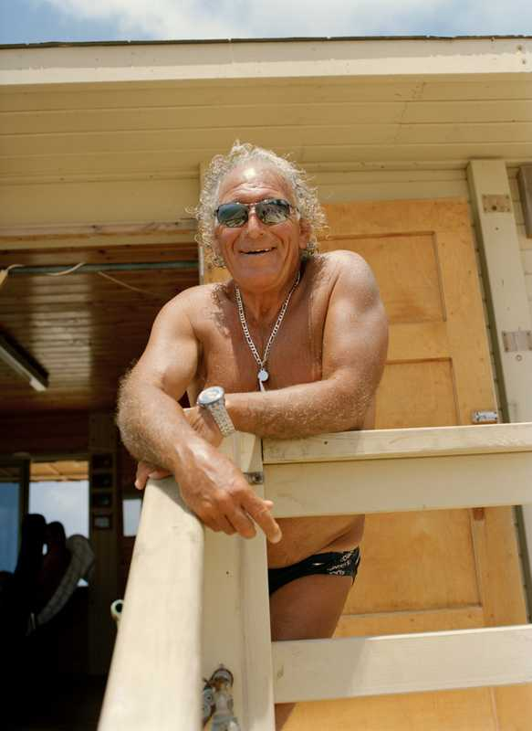 Moshe Leon, 64, surfer and life saver since 1975, at Banana Beach