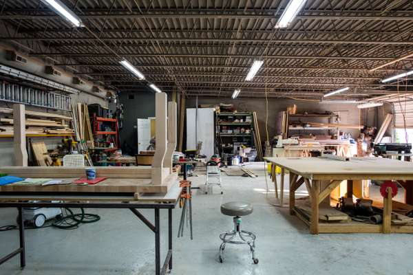Workshop of furniture-maker Fecht Designs, located in an industrial park in East Nashville