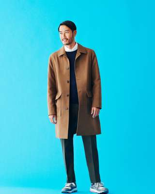 Coat by Closed, jumper by John Smedley, shirt by Giannetto, trousers by Zubon from Urban Research, trainers by New Balance