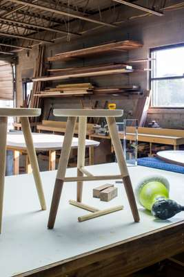 Projects under way at Fecht Designs include furniture and functional sculpture