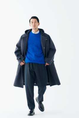 Coat and trousers by Aton, jumper by Beauty & Youth United Arrows, shirt by Beams, socks by Muji, shoes by Church's