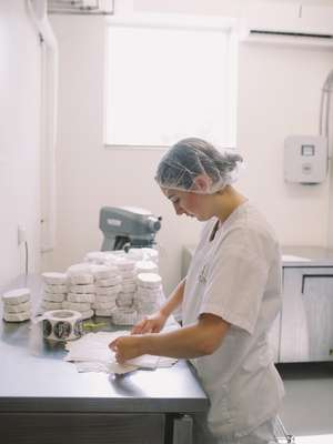 Packaging cheese at the Fifth Town Artisan Cheese Co