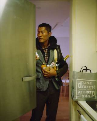 Blouson jacket by Visvim, jacket by Tokito, shirt by Steven Alan from Beauty & Youth United Arrows Shibuya Koendori, trousers by Bottega Veneta