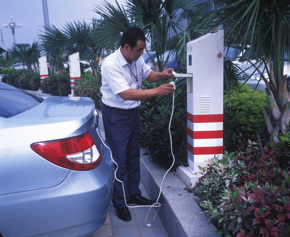 Charging up a car at BYD HQ, Shenzhen