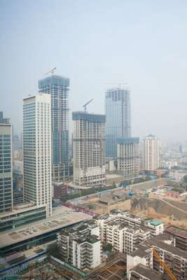 View over downtown Chengdu under construction