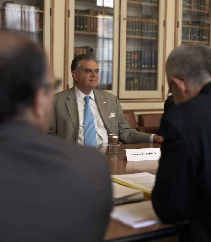 US transport secretary Ray LaHood meets French rail officials at the US Embassy, Paris