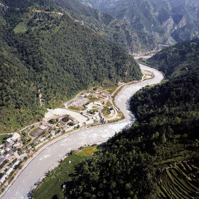 The Khimti hydropower plant on the banks of the river