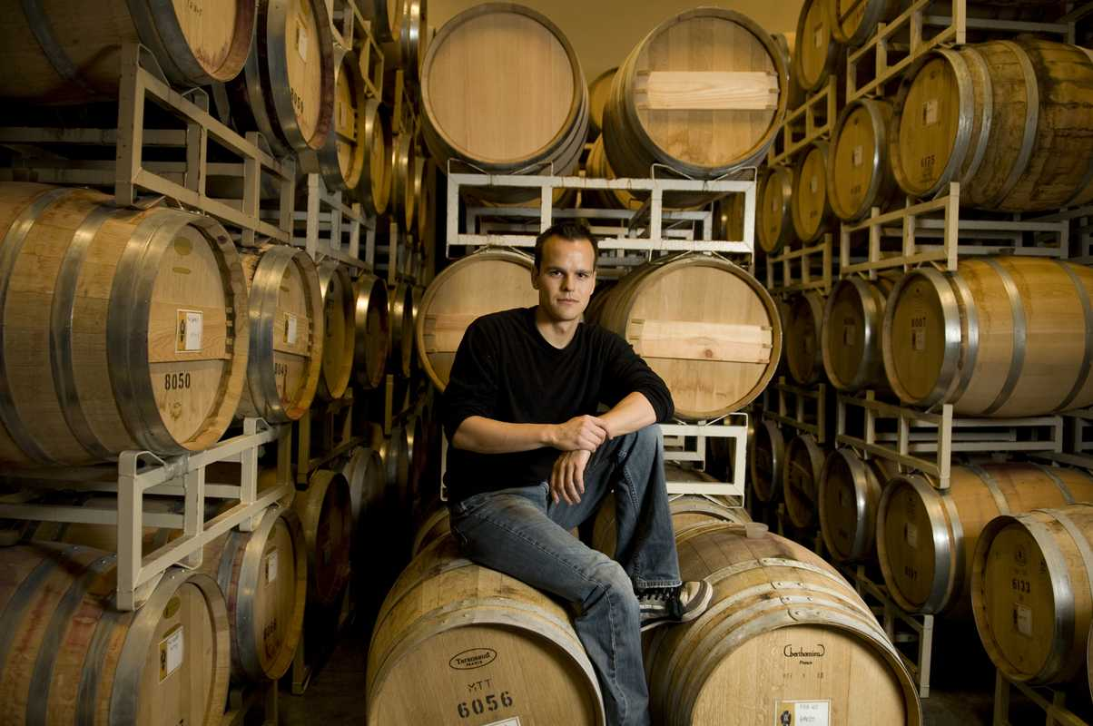 Cellar assistant Aaron Crey in the Nk'Mip Cellars