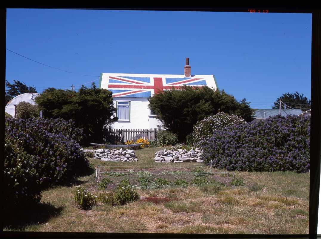 Patriotic roofing on a house in Stanley