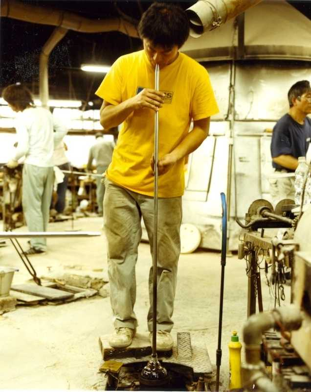 Glass blower at work in Shotoku's Tokyo factory