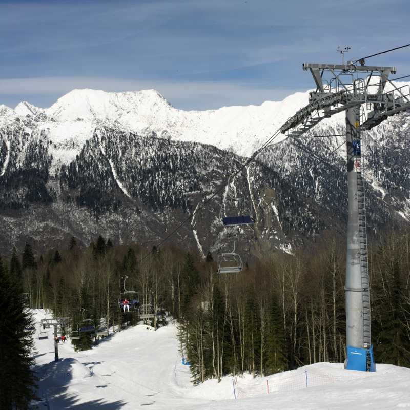 The Caucasus peaks viewed from a ski slope in Krasnaya Polyana