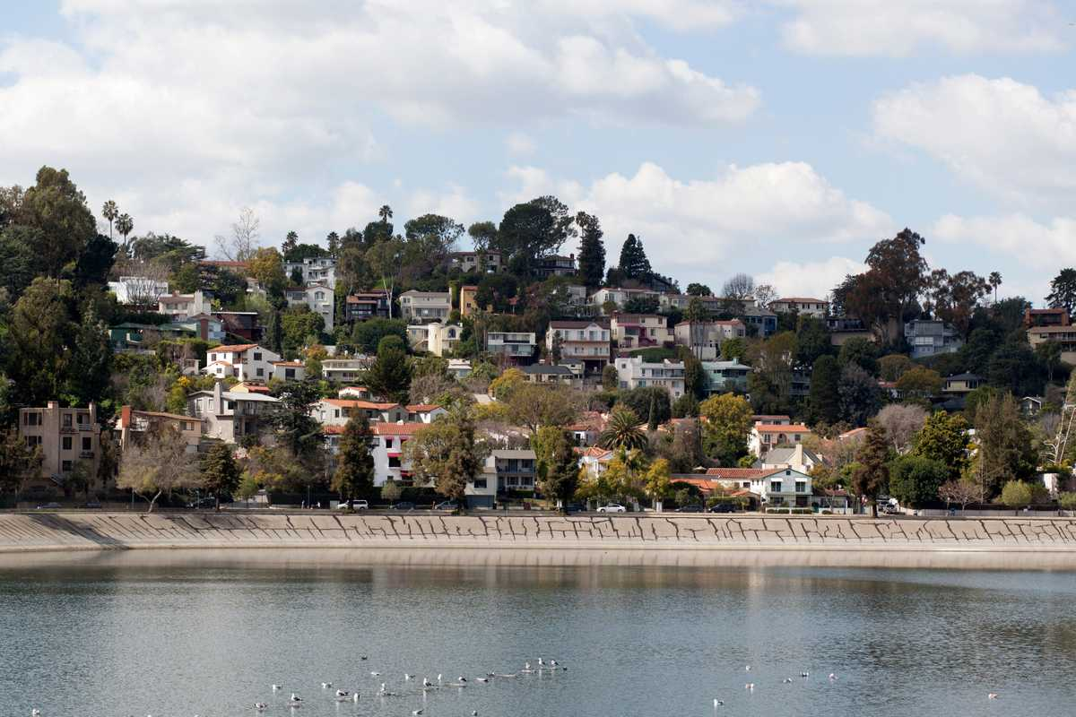 Houses on the west bank of the 1906 Silver Lake Reservoir, which gives the area its name