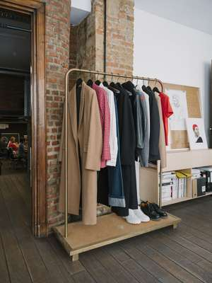 A rail of Ami's womenswear