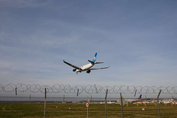 Plane comes into land at Gatwick