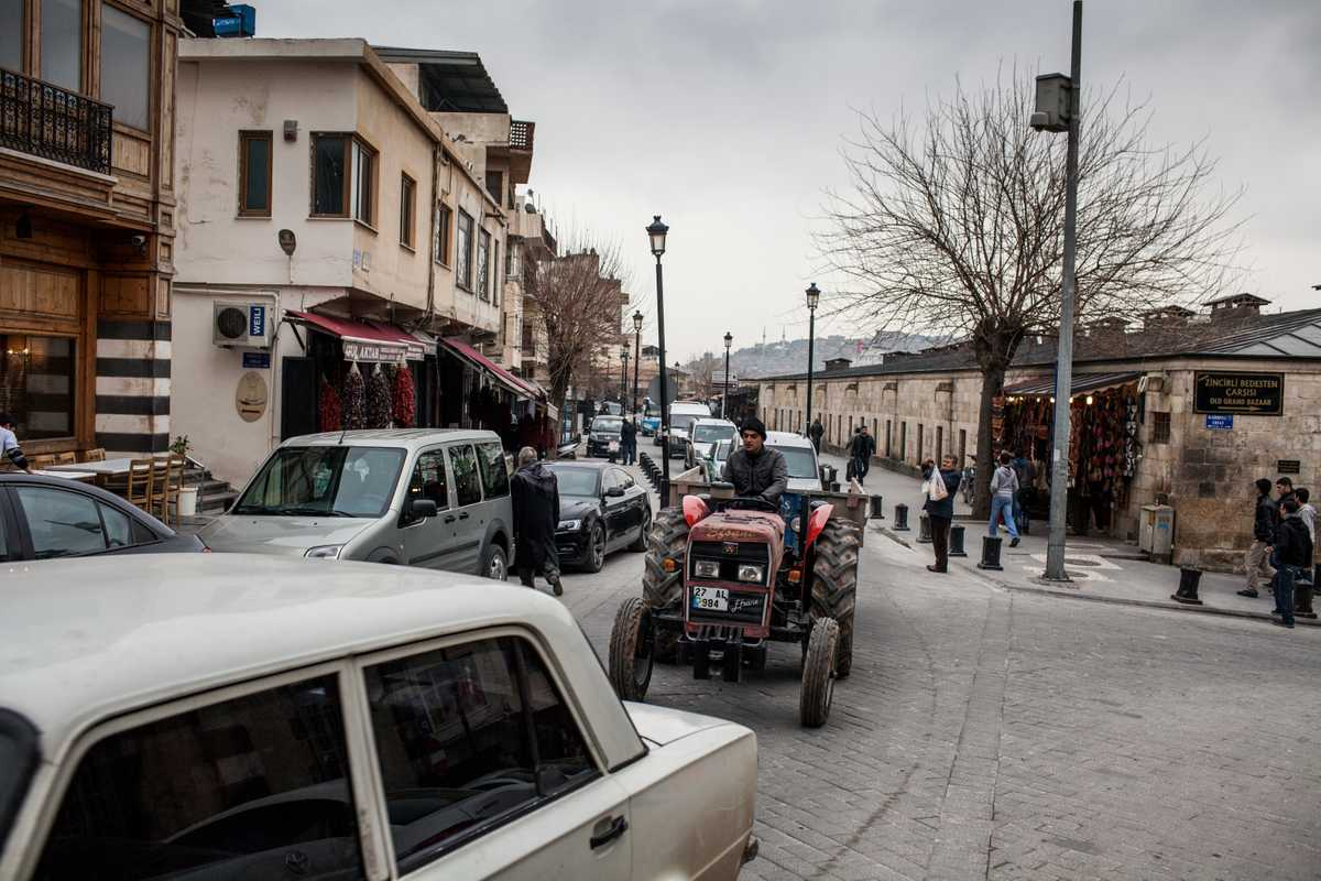 A tractor navigates Gaziantep's old town