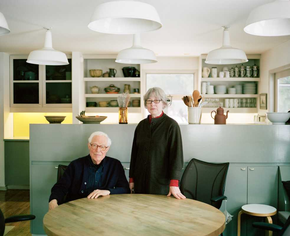 Niels Diffrient and his wife Helena Hernmarck in their kitchen
