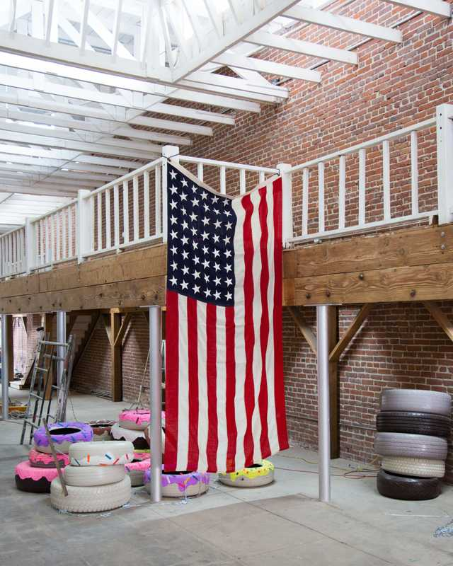 American flag at Factory LA's new space