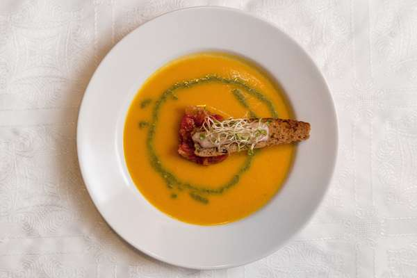 Chilled carrot-and-orange soup