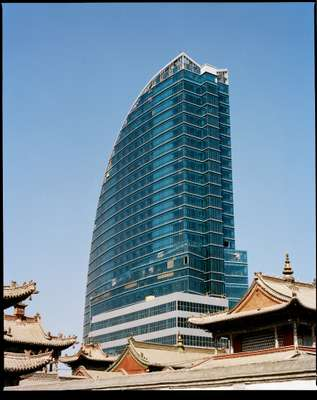 Choijin Lama Temple Museum with new skyscraper behind