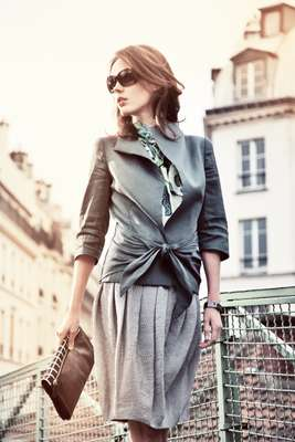 1. Jacket and blouse by Tonello, Skirt by Incotex, Sunglasses by Chanel, Watch by Rado, Bag by Dries Van Noten