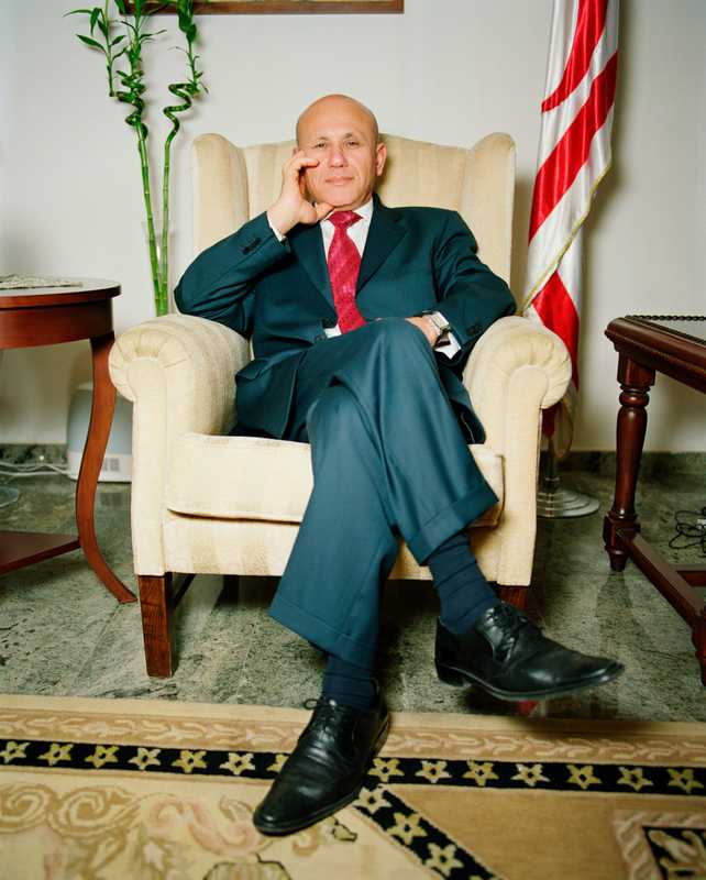 President of Northern Cyprus, Mehmet Ali Talat, in his office