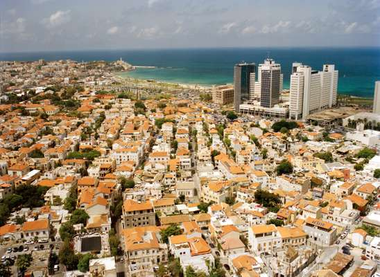 View from Tel Aviv's first modern high rise, the Shalom Tower, towards southwestern Jaffa