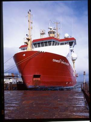 'RRS Ernest Shackleton', a supply ship operated by the British Antarctic Survey