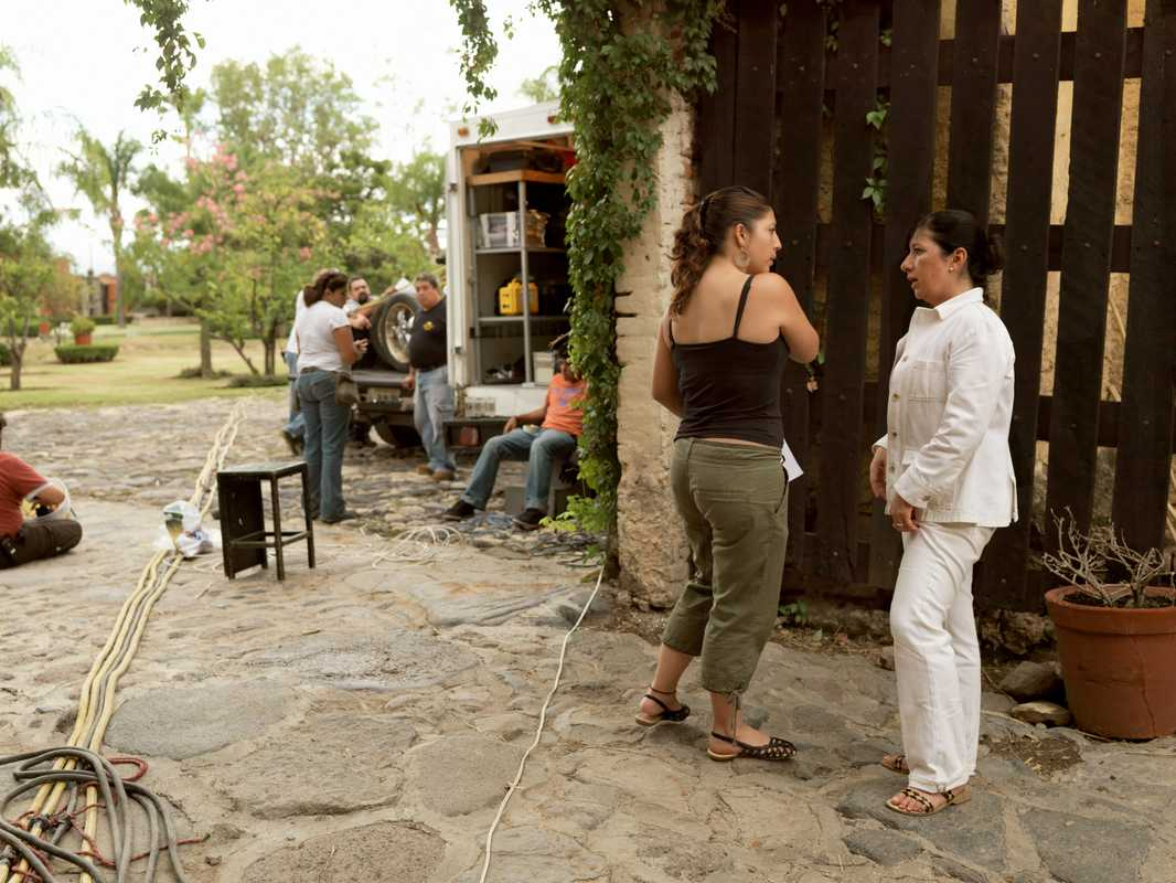 Producer Angeles Morales Ordorica (right) on the set of 'Tequila' in Jalisco