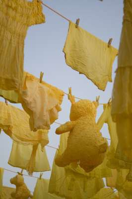 A surreal washing-line installation