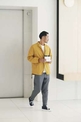 Jacket by Scye Basics, t-shirt by Pal Zileri, trousers by Barena Venezia, socks by Uniqlo, trainers by AMB