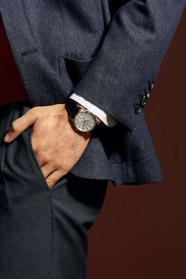 Jacket by Ermenegildo Zegna, shirt by Bevilacqua, trousers by Germano, watch by Vacheron Constantin