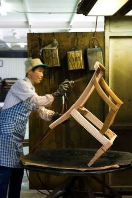 Hand-finishing a chair frame