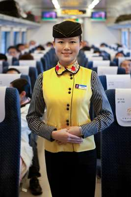 Stewardess on high-speed train