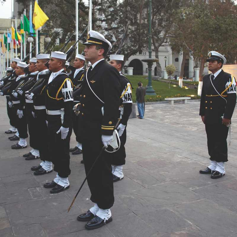 Military honour guard outside Legislative Palace