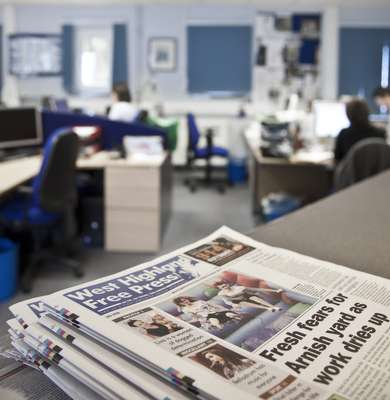 Copies of 'West Highland Free Press' in the paper's newsroom