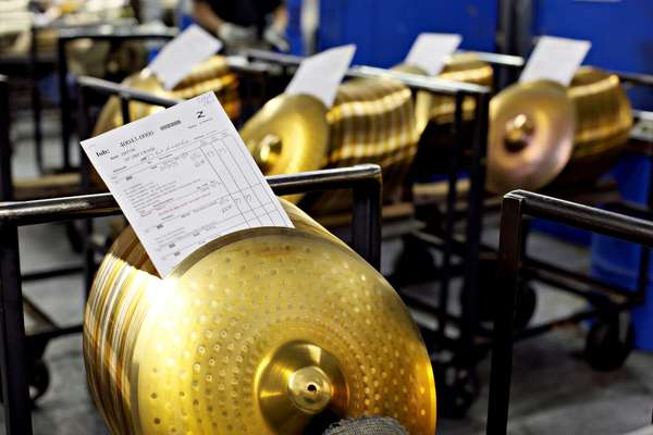 Cymbals in line to be sound tested