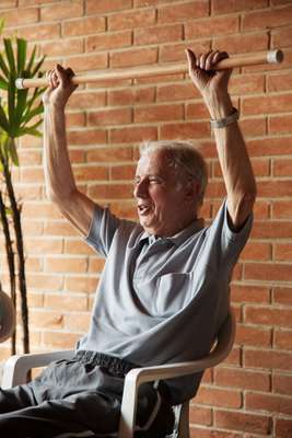 José Collado, 76, during physiotherapy