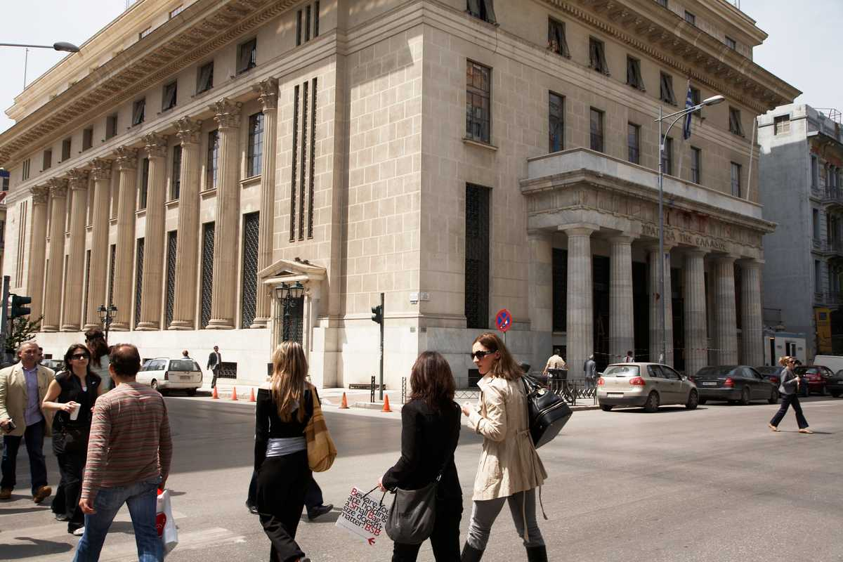 The grand marble Thessaloniki HQ of the National Bank of Greece, just steps from the Stock Exchange