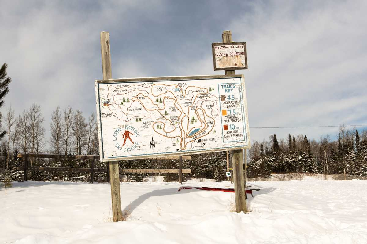 A route at Lappe Nordic Ski Club