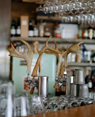 Antler tap handles  at Mallard Cottage