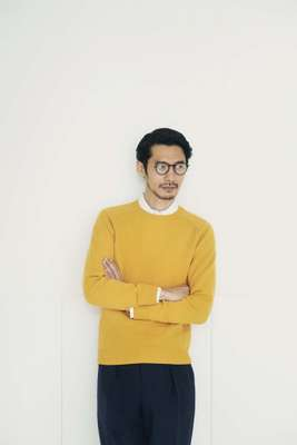 Jumper by Beams Plus, shirt by Sunspel,  trousers by Markaware from Parking, glasses by Eyevan 7285