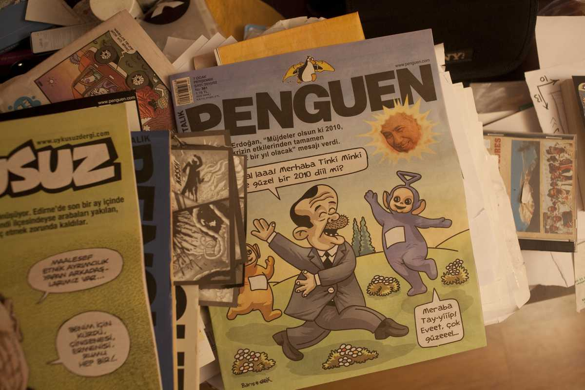 Penguen, with a caricature of Recep Erdogan on the cover