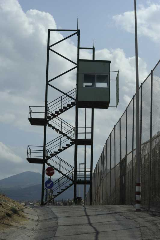 A sentry tower along the border fence